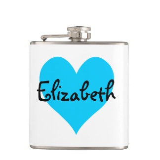 Personalized Aqua Blue Heart Flasks