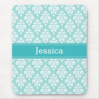 Personalized Aqua Damask Pattern Mouse Pad