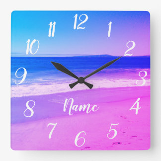 Personalized Aqua Pink Ombre Beach Scene Square Wall Clock
