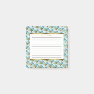 Personalized Aqua Teal Gold Mermaid Scales 3x3 Post-it Notes