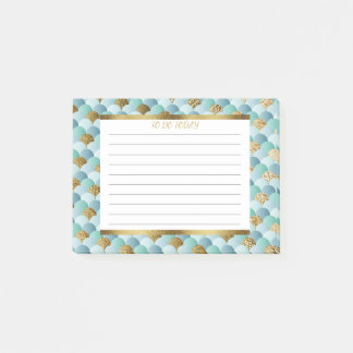 Personalized Aqua Teal Gold Mermaid Scales Post-it Notes