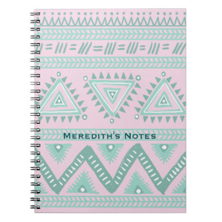 Personalized Aqua-Teal Tribal Pattern on Pink Notebook