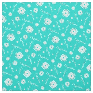 Personalized aqua white daisy name pattern fabric