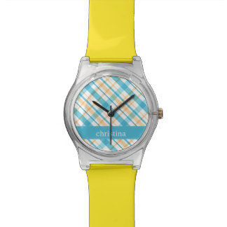 Personalized Aqua & Yellow Plaid Pattern Wristwatches