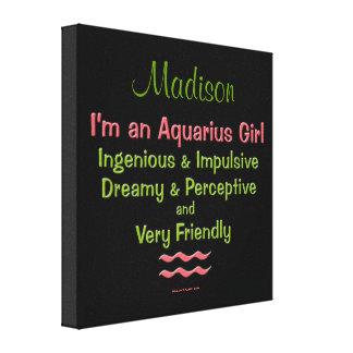 Personalized Aquarius Girls Canvas Wrap