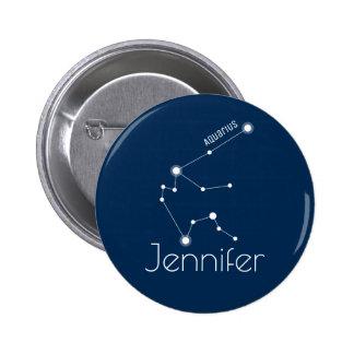 Personalized Aquarius Zodiac Constellation 6 Cm Round Badge