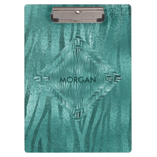Personalized Aquatic Jungle Blue Shiny  Clipboard