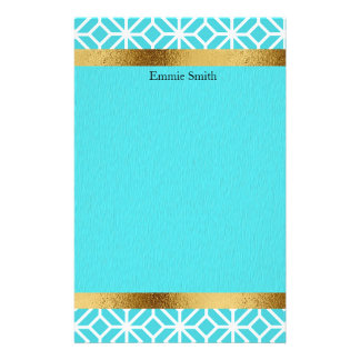 Personalized Arctic Blue and Gold Stationery
