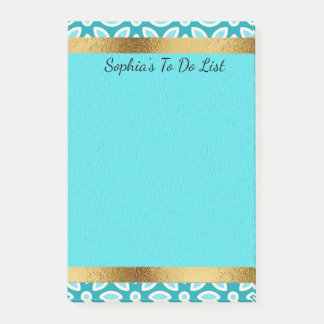 Personalized Arctic Blue Turquoise White Gold Post-it Notes