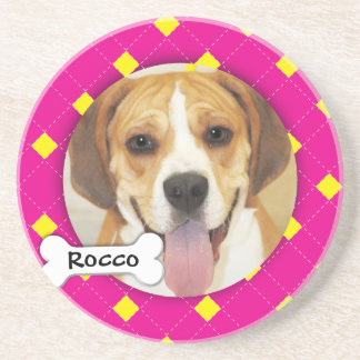 Personalized Argyle Dog Photo Coaster