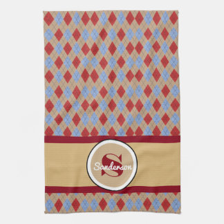 Personalized Argyle Golf or Hand Towels