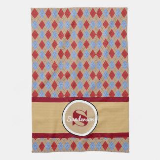 Personalized Argyle Golf or Tea Towel