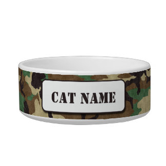 Personalized Army Woodland Camouflage Cat Bowl