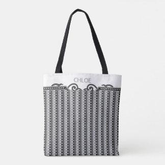 Personalized Art Deco Victorian Stripe Black White Tote Bag