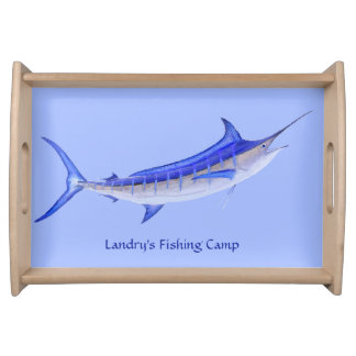 Personalized Artistic Blue Marlin Fish Serving Tray
