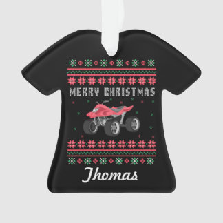 Personalized ATV Ugly Christmas Sweater Ornament