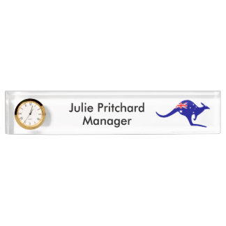 Personalized Australian Desk Nameplate with Clock