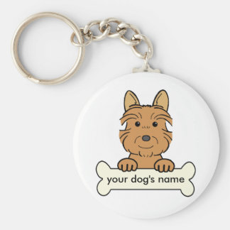 Personalized Australian Terrier Basic Round Button Key Ring