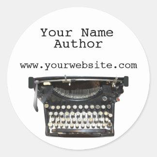 Personalized Author Stickers Typewriter Custom