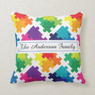 Personalized Autism Awareness Rainbow Puzzles Cushion