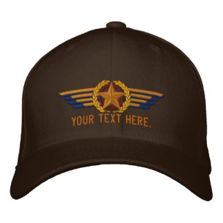 Personalized Aviation Star Laurels Pilot Wings Embroidered Cap