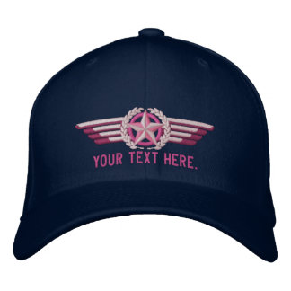 Personalized Aviation Star Laurels Pilot Wings Embroidered Hat
