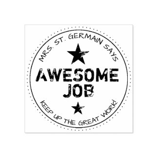 Personalized Awesome Job Rubber Stamp