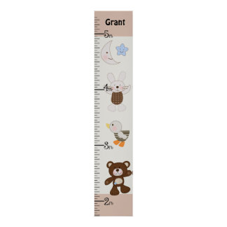 Personalized B is for Bear/Teddy Bear Growth Chart Poster