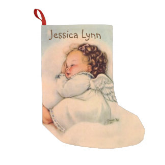 Personalized Baby Angel Wings sleeping in cloud Small Christmas Stocking