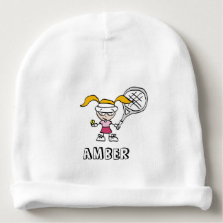 Personalized baby beanie hat for cute tennis girl