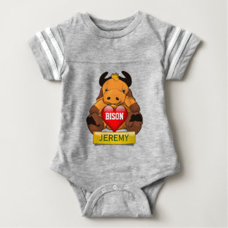 Personalized Baby Bison With Heart Baby Bodysuit