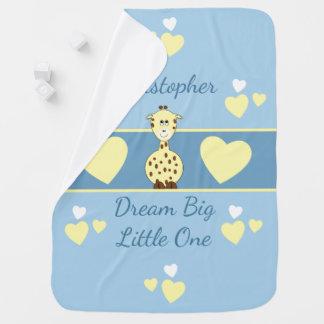 Personalized Baby Blanket Giraffe Dream Big