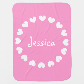 Personalized baby blanket in pink and white hearts