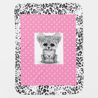 Personalized Baby Blanket/Snow Leopard Baby Blanket