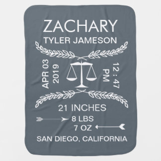Libra baby gifts t shirts art posters other gift ideas zazzle personalized baby boy announcementbirth record baby blanket negle Images