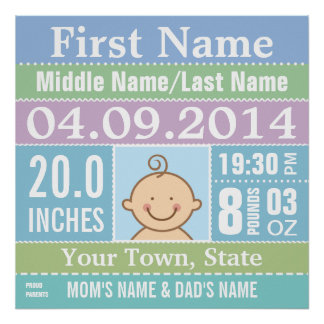 Personalized Baby Boy Birth Stats poster