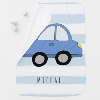 Personalized Baby Boy Blue Car Vehicle with Name Baby Blanket