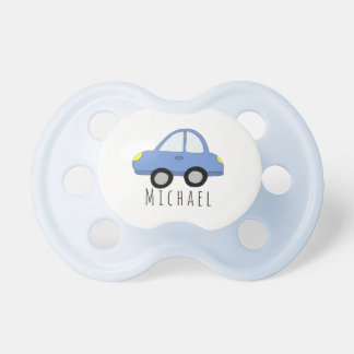 Personalized Baby Boy Blue Car Vehicle with Name Dummy