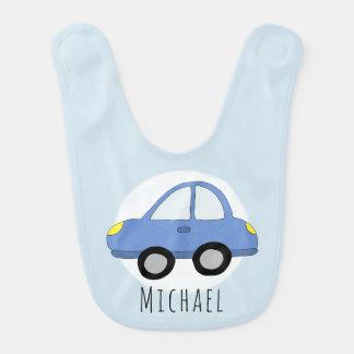 Personalized Baby Boy Blue Car with Name Bib