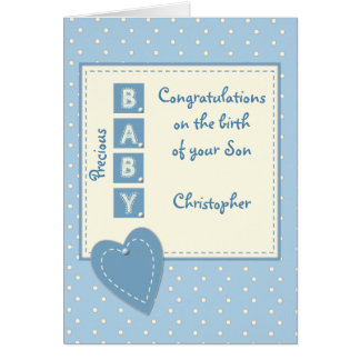 Personalized Baby Boy blue Card