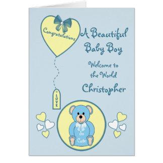 Personalized Baby Boy Card teddy bear blue