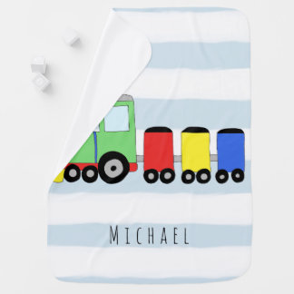 Personalized Baby Boy Colorful Train with Name Baby Blanket