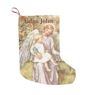 Personalized Baby Boy Guardian Angel Small Christmas Stocking