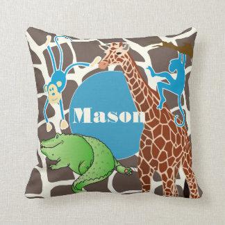 Personalized Baby Boy Jungle Giraffe Pattern Cushion