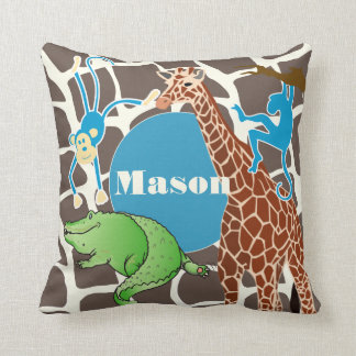 Personalized Baby Boy Jungle Giraffe Pattern Throw Pillow