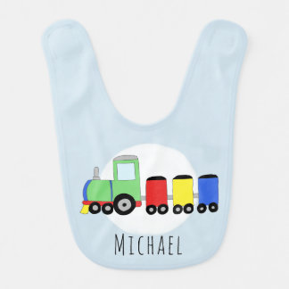 Personalized Baby Boy Locomotive Train with Name Bib