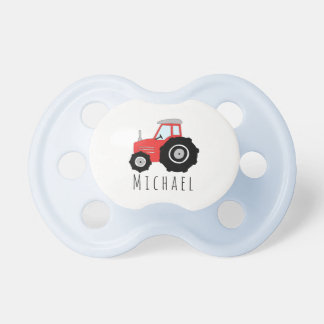 Personalized Baby Boy Red Farm Tractor with Name Dummy