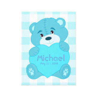 Personalized baby boy room decor canvas print
