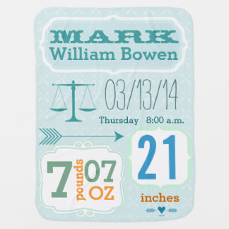 Personalized Baby Boy Stats Blanket Buggy Blanket