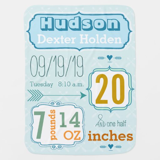 Personalized Baby Boy Stats Blanket Baby Blankets